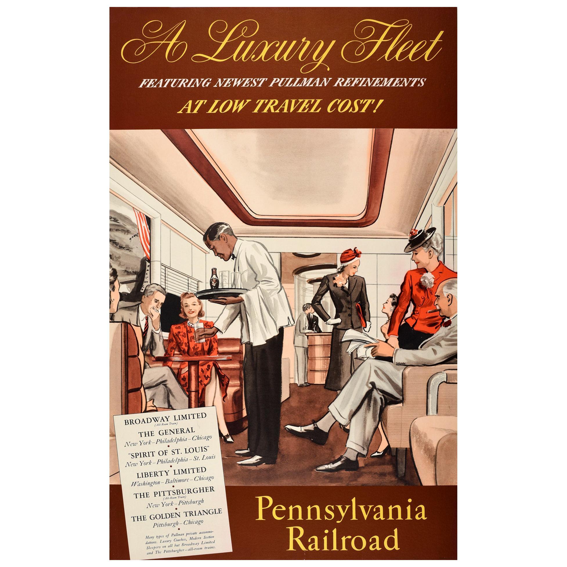 Original Vintage Poster Pennsylvania Railroad Pullman Train Travel Luxury Fleet