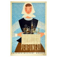 Original Vintage Poster Perfumery Soviet Chemical Export Mid Century Design USSR