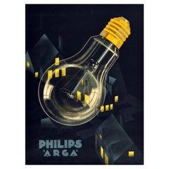 Original Vintage Poster Philips Arga Light Bulb Night Lights Advertising Design