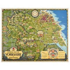 Original Vintage Poster Pictorial Map Of Yorkshire British Railways Train Travel