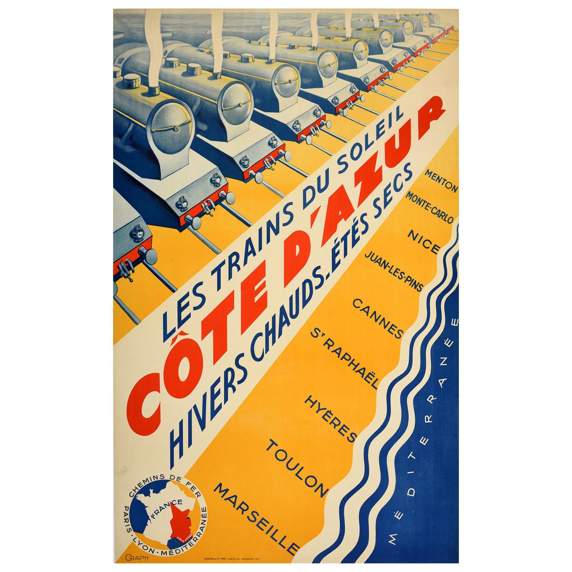 Original Vintage Poster PLM Railway Cote d'Azur French Riviera Art Deco Trains