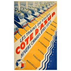 Original Vintage Poster PLM Railway Cote d'Azur French Riviera Art Deco Trains