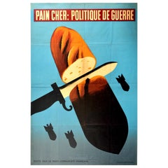 Original Vintage Poster Politique De Guerre Expensive Bread War Politics WWII