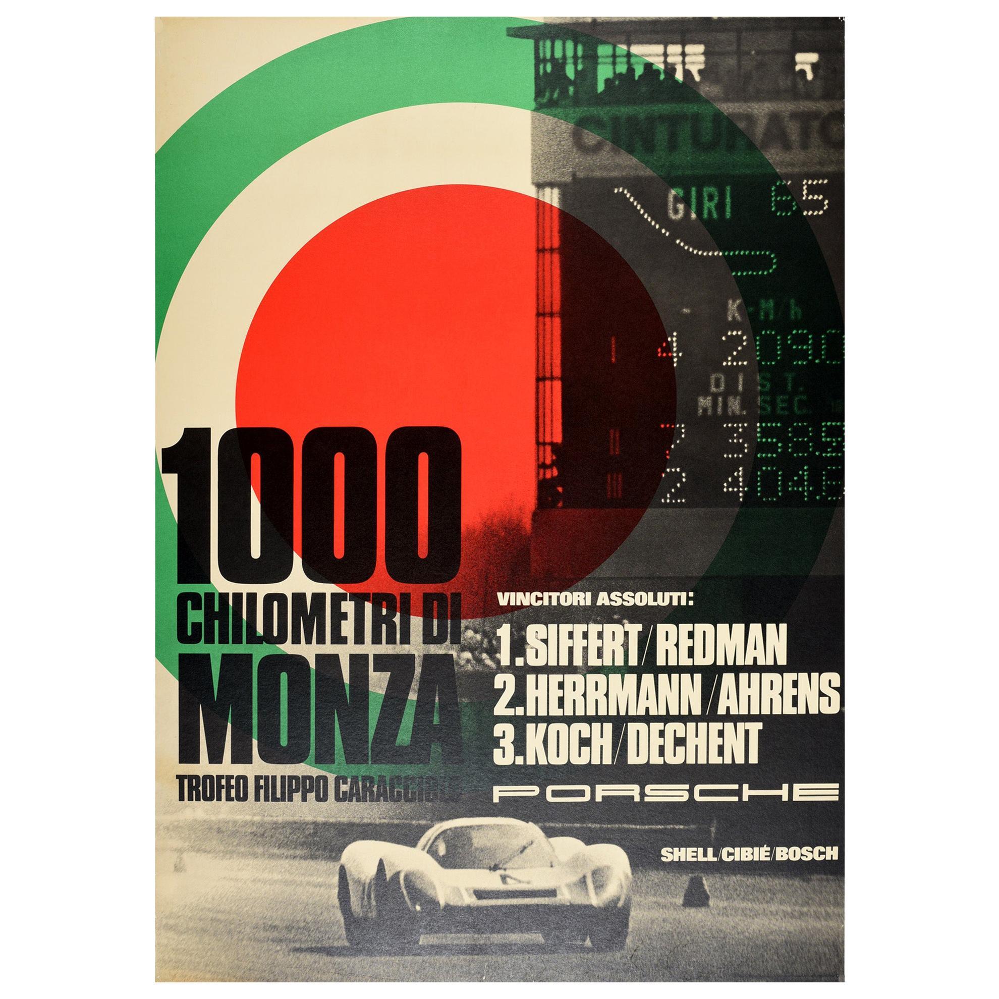 Original Vintage Poster Porsche 1000 Chilometri Di Monza Race Track Motor Sport
