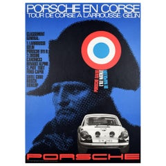 Original Vintage Poster Porsche 911 Corsica Rally Tour De Corse Larrousse Gelin