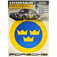 Original Vintage Poster Porsche 911 Svenska Rallyt Swedish Rally Auto Racing Car