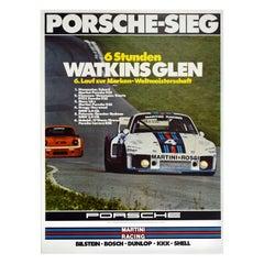 Original Vintage Poster Porsche 935 Watkins Glen Auto Racing Sports Car Victory