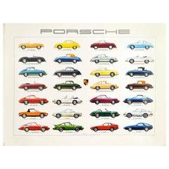 Original Vintage Poster Porsche Production Cars Auto Racing Motor Sports Models