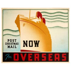 Original Vintage Poster Post Christmas Mail Now For Overseas Art Deco Steam Ship