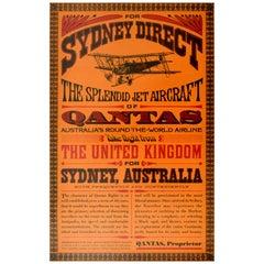Original Vintage Poster Qantas Sydney Direct Jet Aircraft Round The World Travel