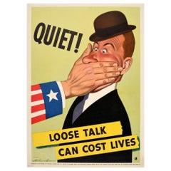 Original Vintage Poster Quiet Loose Talk Can Cost Lives WWII War Defense US Flag