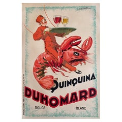 Original Vintage Poster Quinquina Du Homard 1925 Lithograph lobster poster