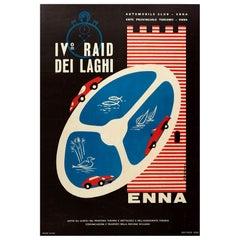 Original Vintage Poster Raid Dei Laghi Lake Sports Cars Race Graphic Design Enna