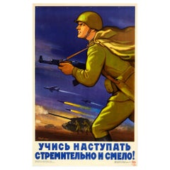 Original Vintage Poster Red Army Cold War Soviet Propaganda Learn To Advance