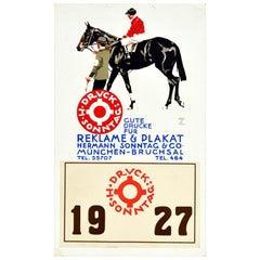 Original Vintage Poster Reklame Plakat Hermann Sonntag Prints Horse Race Design