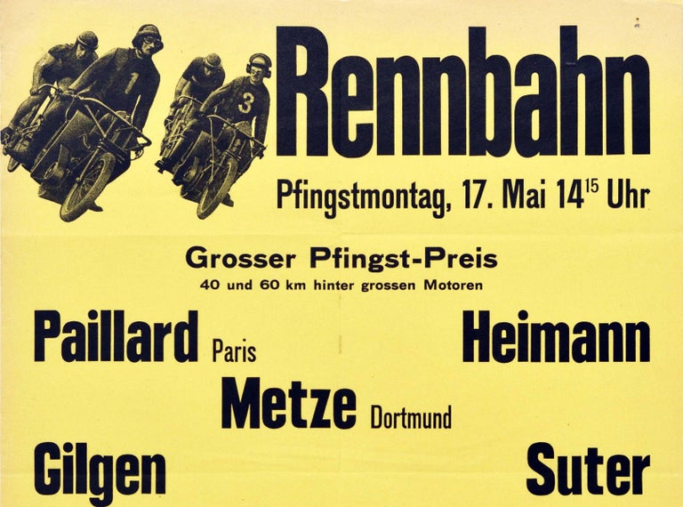 Original vintage motorcycle and bicycle racing poster advertising the Rennbahn race in Oerlikon Zurich on Whit Monday / Pfingstmontag (Pentecost Monday aka Monday of the Holy Spirit is a public holiday in Switzerland) 17 May featuring two motorcycle