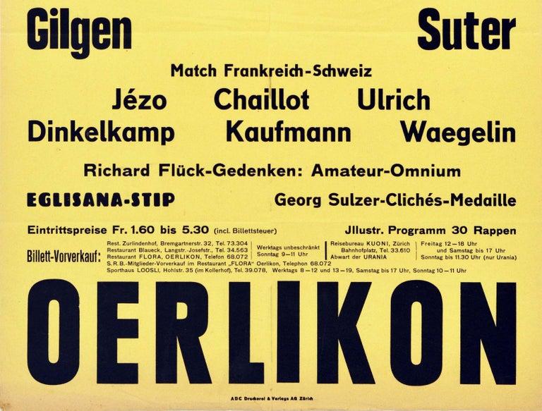 Swiss Original Vintage Poster Rennbahn Oerlikon Zurich Motorcycle Bicycle Race Design For Sale