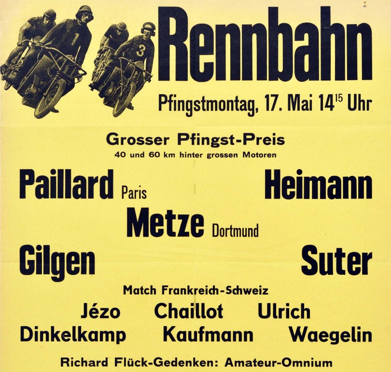 Original Vintage Poster Rennbahn Oerlikon Zurich Motorcycle Bicycle Race Design In Good Condition For Sale In London, GB