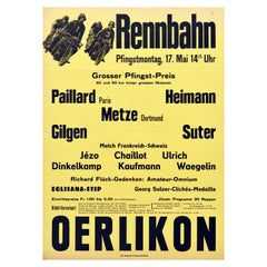 Original Vintage Poster Rennbahn Oerlikon Zurich Motorcycle Bicycle Race Design