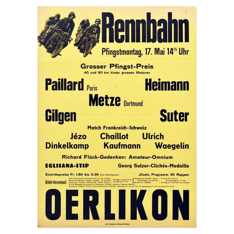 Original Vintage Poster Rennbahn Oerlikon Zurich Motorcycle Bicycle Race Design For Sale
