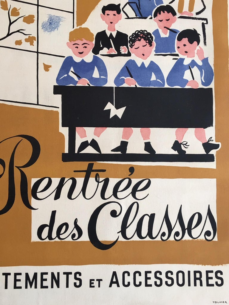 Mid-20th Century Original Vintage Poster, 'Rentree Des Classe' French Lithograph Poster, 1935 For Sale