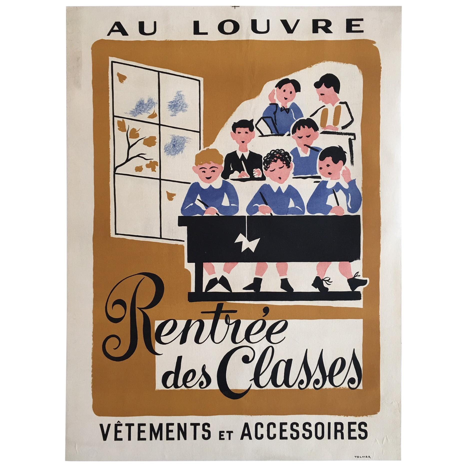 Original Vintage Poster, 'Rentree Des Classe' French Lithograph Poster, 1935