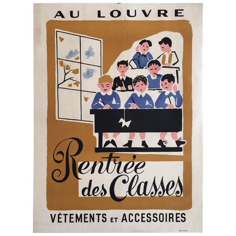 Original Vintage Poster, 'Rentree Des Classe' French Lithograph Poster, 1935 For Sale