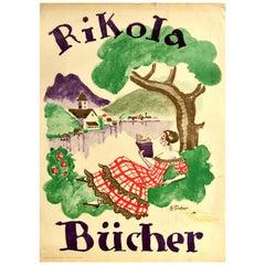 Original Vintage Poster Rikola Bucher Book Advertising Countryside Lake Painting