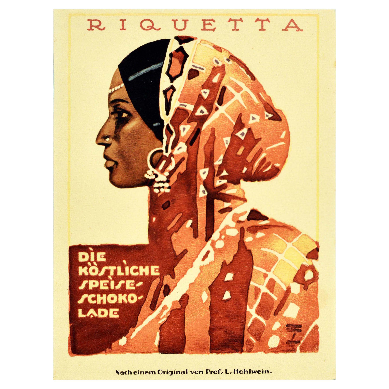 Original Vintage Poster Riquetta Speiseschokolade Chocolate Food Advertising Art