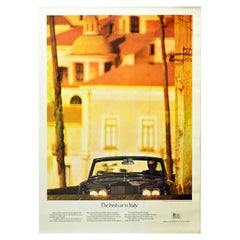 Original Vintage Poster Rolls Royce Corniche The Best Car in Italy Amalfi Coast