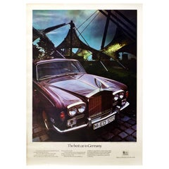 Original Vintage Poster Rolls Royce Silver Shadow Olympic Stadium Munich Germany