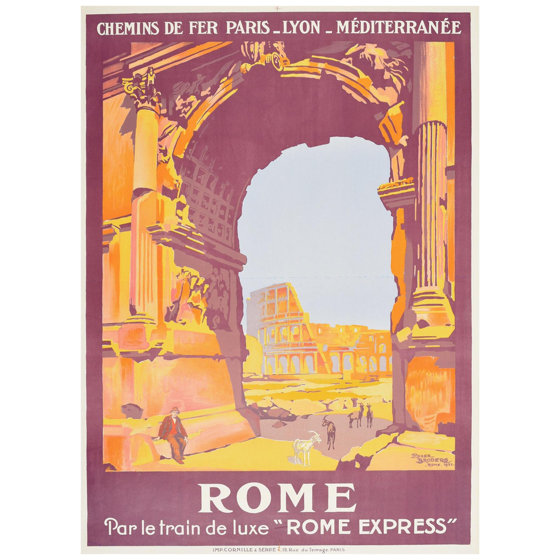 Original Vintage Poster Rome PLM Railway Travel Luxury Express Train Colosseum