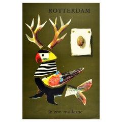 Original Vintage Poster Rotterdam Le Zoo Moderne Netherlands Modern Zoo Bird Art