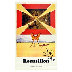 Original Vintage Poster Roussillon By Dali For SNCF Railways Butterfly Design