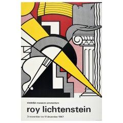 Original Vintage Poster Roy Lichtenstein Exhibition 1967 Pop Art Arrow & Column