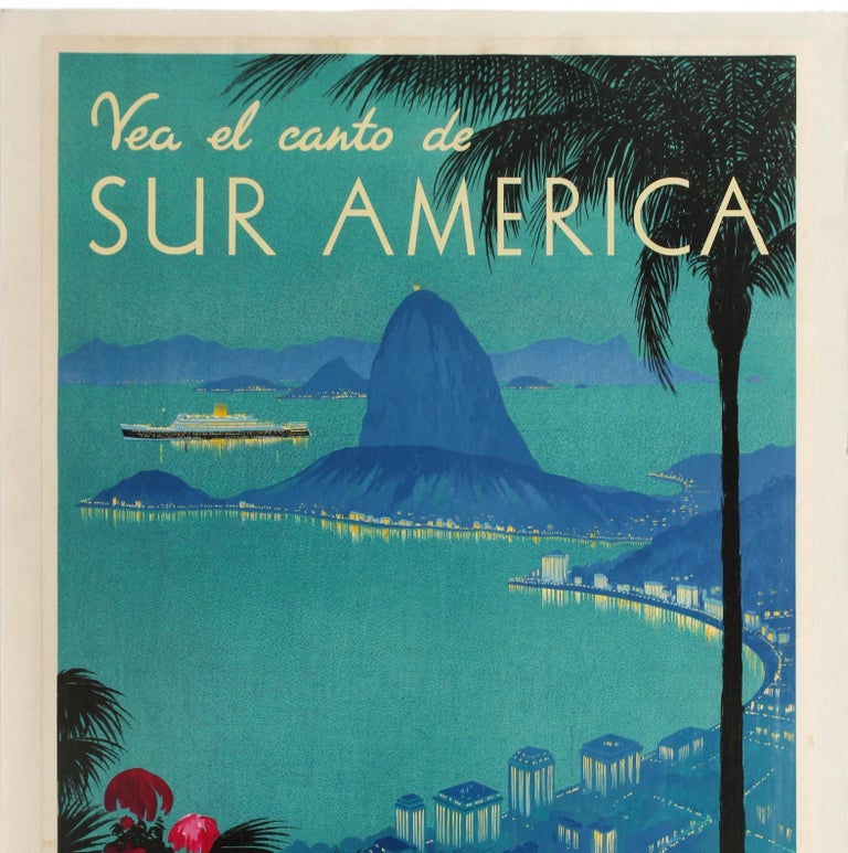 Original vintage Royal Mail cruise travel advertising poster - Vea el canto de Sur America See the Song of South America - featuring a stunning scenic image in shades of blue depicting a view over the Rio de Janeiro city skyline along coast in