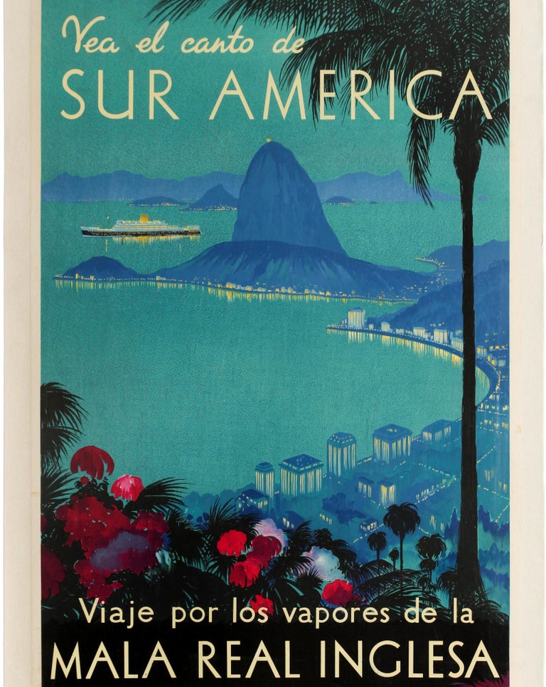 British Original Vintage Poster Royal Mail Lines Cruise Travel South America Rio Brazil For Sale