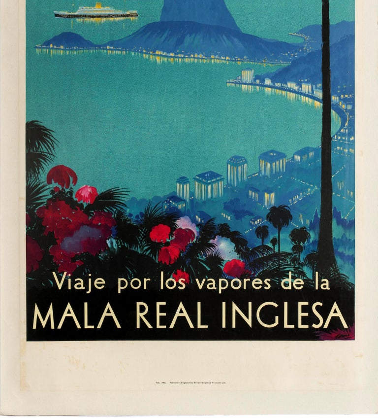 Original Vintage Poster Royal Mail Lines Cruise Travel South America Rio Brazil In Good Condition For Sale In London, GB