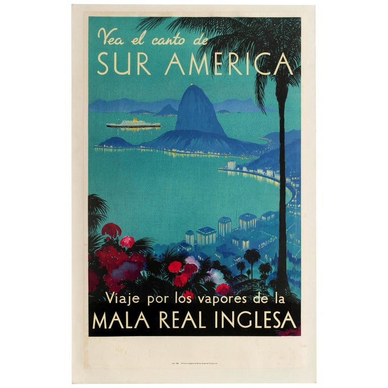 Original Vintage Poster Royal Mail Lines Cruise Travel South America Rio Brazil For Sale