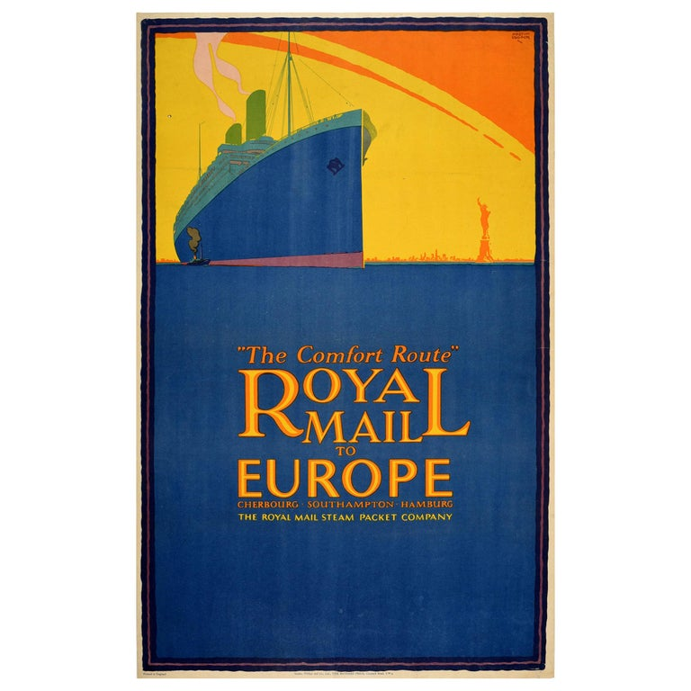 Original Vintage Poster Royal Mail Steamship Europe New York Statue Of Liberty For Sale