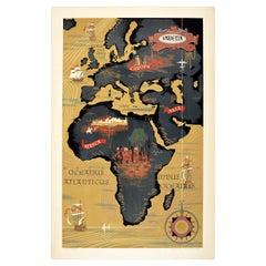 Original Vintage Poster Sabena Belgian Airlines To Europe Asia Africa Travel Map