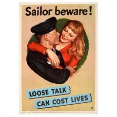 Original Vintage Poster Sailor Beware Loose Talk Can Cost Lives WWII Victory V