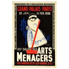 Original Vintage Poster Salon Des Arts Menagers Paris Household Show Furniture