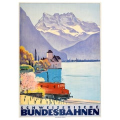 Original Vintage Poster Schweizerische Bundesbahnen Swiss Federal Railway Travel