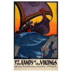 Original Vintage Poster See The Lands Of The Vikings Travel Old Norse Style Art