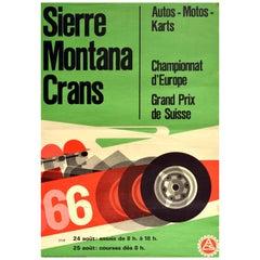 Original Vintage Poster Sierre Montana Crans Europe Swiss Grand Prix Auto Racing