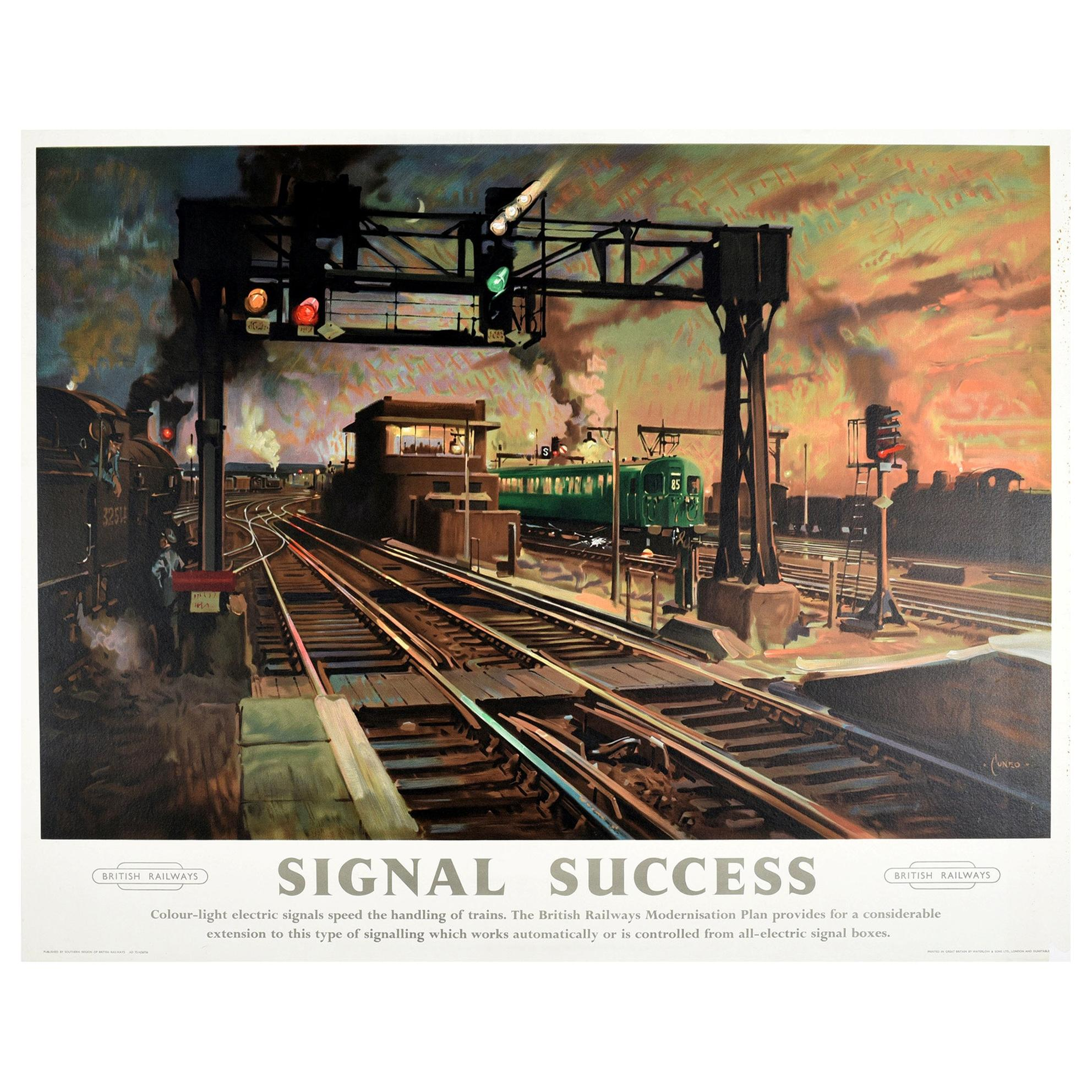 Original Vintage Poster Signal Success British Railways Modernisation Plan Train