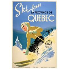 Original Vintage Poster Ski Fun La Province De Quebec Canada Winter Sport Travel