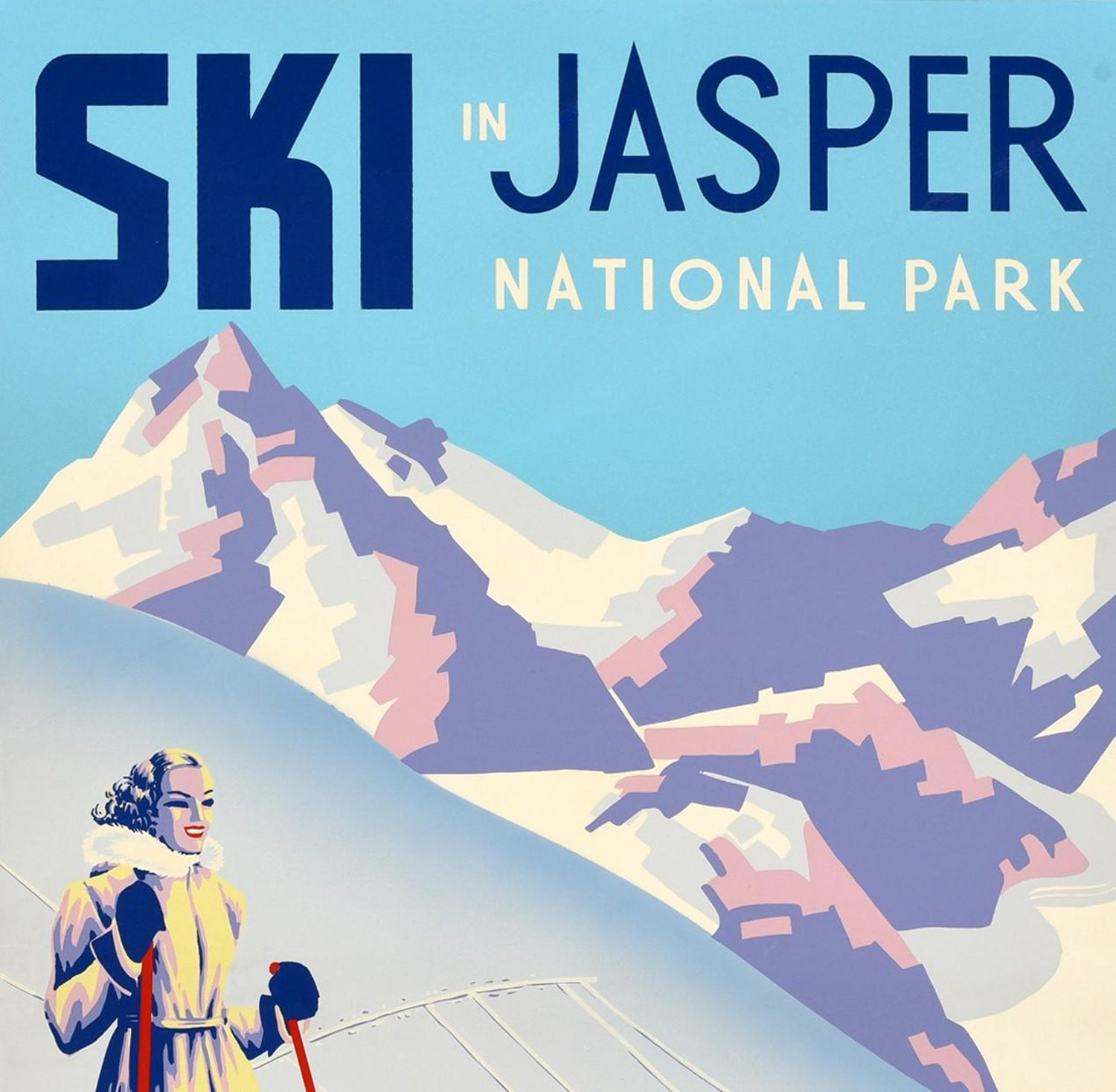 Art Poster Ski in Jasper Nat Park  Skiing Canada Travel  Print