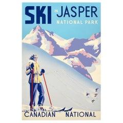 Original Vintage Poster Ski In Jasper National Park Canadian National Railway